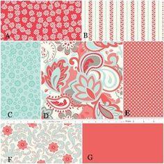 YOU DESIGN Custom 3 piece Crib Bedding Set - Bumper, Skirt and Sheet Aqua and Coral