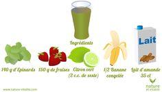 smoothie fraise et épinards  Ingrédients pour 1 portion  35 cl de lait d'amande 150 grammes de fraises fraîches 2 cuillères à café de zestes de citron vert 1/2 banane congelée 140 grammes d'épinards légèrement tassés.