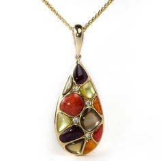 #Tangerine #Tango: #Kabana Mixed Spiny #Oyster and Mother of Pearl Teardrop #Pendant Necklace Yellow Gold GPCF415MMS