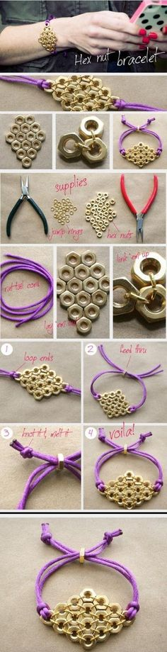 DIY Hex Nut Bracelet diy crafts craft ideas easy crafts diy ideas crafty easy diy diy jewelry diy bracelet craft bracelet jewelry diy