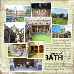 Bath travel scrapbook layout. Like the multi photos layout