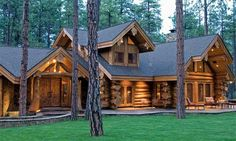 Cabin made from concrete logs. What are your opinions on concrete log cabin builds? X - Modern and Vintage Cabin Decorating Ideas, Small Cabin Designs, Cabins Interior and Decor Inspiration Log Cabin Living, Log Cabin Homes, Log Cabins, Rustic Cabins, Rustic Homes, Western Homes, Rustic Cottage, Log Cabin Designs, Cabin In The Woods