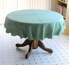 "Vintage Round Linen Tablecloth Jade Green 66"" Dia."