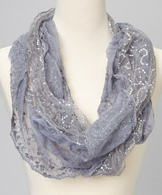 Take a look at this Gray Sequin Lace Scarf by J & X International on #zulily today!