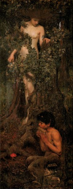 John William Waterhouse (1849-1917) English Pre-Raphaelite painter.  Oil on canvas Plymouth Art Gallery, England: artuk.org/discover/artworks/hamadryad-148214/view_as/grid...  Hamadryads are tree nymphs of Greek mythology