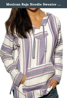 Mexican Baja Hoodie Sweater Jerga Pullover Lavender Pink White (Medium). Our Mexican baja hoodies are durable, warm and soft outwear that are practical for cool or cold weather. Casual and comfortable, the baja is great for everyday leisurely wear. Whether over your T-shirt on cool summer nights or over multiple layers, the baja is a great choice for look, comfort and warmth. Made of premium quality cotton blend, this product features a front pocket and hood. On those crisp fall days…