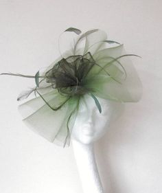 Olive Green Facinator Hat for Kentucky Derby by Hatsbycressida, $100.00