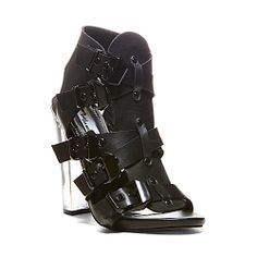 TMADRID BLACK LEATHER women's dress high strappy - Steve Madden