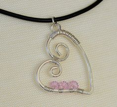 Pink Sterling Heart Black Leather Necklace  by RelaxedGrace, $30.00