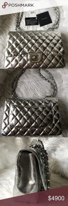 f9526be989e894 Spotted while shopping on Poshmark: CHANEL Metallic Quilted Jumbo Single  Flap Silver! #poshmark