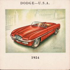 U.S.A. 1954 Dodge Fire Arrow, 2 pass. Spider (Ghia). 8-cyl. o.h.v. engine in vee. Bore and stroke 87 X 82.5 mm. Cubic capacity 3,954 c.c. Max. b.h.p. 152 at 4,400 r.p.m. Max. speed 100 m.p.h. Automatic transmission.  From an old book that I had from the mid-1960s about cars.