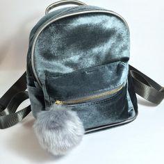 Velvet Mini Backpack with Pom Pom Charm in Gray
