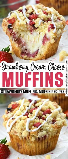 Simple Muffin Recipe, Muffin Tin Recipes, Snack Recipes, Dessert Recipes, Snacks, Yummy Recipes, Strawberry Muffins, Strawberry Recipes, Strawberry Cream Cheese Dessert