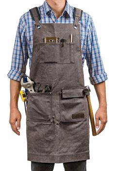 Waxed Canvas Work Apron with Pockets Heavy Duty Tool Apron for Men Women Tool Apron, Work Aprons, Gardening Apron, Leather Apron, Aprons For Men, Chef Apron, Apron Pockets, Waxed Canvas, Back Strap