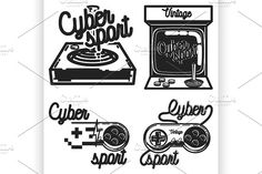 Color vintage cyber sport emblems by Netkoff on @creativemarket