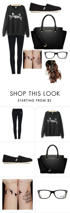 """""""Meow"""" by kayleighmw on Polyvore featuring TOMS, MICHAEL Michael Kors, Ray-Ban and Suzywan DELUXE"""