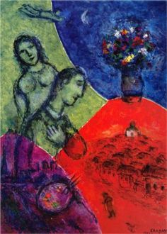 """1972 Vintage MARC CHAGALL /""""STILL LIFE WITH LAMP/"""" LOVELY COLOR offset Lithograph"""