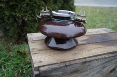 Vintage Very Large Porcelain Insulator ~ Large Brown Porcelain Insulator with Steel Clips still Attached 20