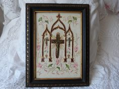 Religious art frame relic w cross Jesus, Victorian hair art memento crucifix, hand painted paper , French 1800s religious icon, wood w gilt
