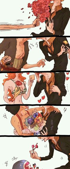 everyone gives Sanji a nice flower and Zoro gives him a dandelion One Piece Anime, One Piece サンジ, One Piece Funny, One Piece Comic, One Piece Fanart, Anime One, One Piece Pictures, One Piece Images, Manga Anime