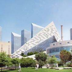architecture firm bjarke ingels group has revealed the design of 'west a residential building in new york city overlooking the hudson river. Pyramid Building, Green Building, Oscar Niemeyer, Modern Buildings, Modern Architecture, Future Buildings, Amazing Buildings, Beautiful Architecture, Greenland Travel