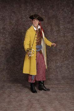 $30.00 Costume Rental   Pirate #5  yellow corduroy coat, maroon stripe pants, brown vest, black sash