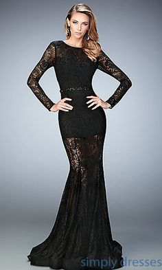 Sheer Black Lace Floor Length Long Sleeve Formal Gown by La Femme