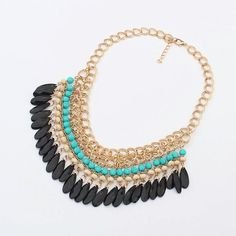 Fashion chain necklace 2015 Bohemian Tassels Drop Vintage Gold Choker Chain Neon Bib Statement Necklaces & Pendants Fashion Jewelry For Woman Accessories