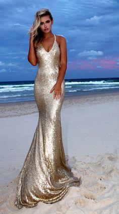 Gold Angel backless prom/ formal dress by STUDIO MINC