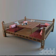 model of Uzbek tapchan Home Room Design, Home Interior Design, Living Room Designs, House Design, Home Decor Furniture, Furniture Design, Wooden Sofa Set Designs, Restaurant Interior Design, Indian Home Decor