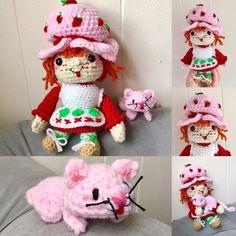Crochet For Kids, Free Crochet, Crochet Strawberry, Strawberry Shortcake Doll, 80s Kids, Crochet Projects, Crochet Patterns, Teddy Bear, Kitty