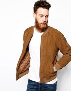 ASOS | ASOS Suede Bomber Jacket In Tan at ASOS