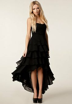 Price:$39.99 Material: Chiffon Color: Black Irregular Sexy Strapless Layers Skirt Evening Party Black Long Dress