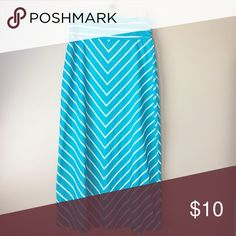 Faded Glory Teal Striped Maxi Skirt Worn once or twice, in great condition Faded Glory Skirts Maxi