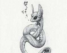 Litten 5 x 7 print pokemon drawing art artwork by RockyHammerEtsy
