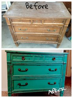 Vintage Dresser Painted Laguna Green Shabbied