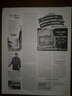 1952 Vintage Zenith Trans Oceanic Portable Radio Print Ad