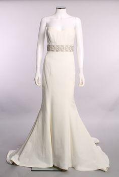 Nicole Miller Strapless Princess Waist Ivory Rhinestone Sash Silk Cotton Blend Sweetheart Neck Mermaid Bridal Wedding Gown Size 6
