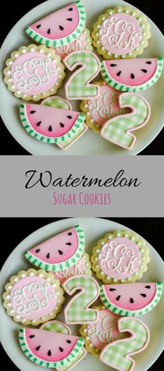 Watermelon Birthday Cookies Perfect for a summer birthday Fruit Cookies, Crazy Cookies, Fancy Cookies, Royal Icing Cookies, Cupcake Cookies, Cupcakes, Summer Cookies, Cookies For Kids, How To Make Cookies