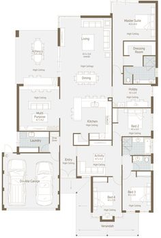 Here's a nice floor plan for a normal residential block. What I immediately liked is the multipurpose room. Here's a nice floor plan for a normal residential block. What I immediately liked is the multipurpose room. Modern Family House, Family House Plans, Dream House Plans, House Floor Plans, My Dream Home, Home And Family, Family Houses, Big Family, The Plan