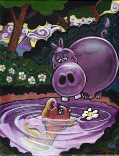 hippo paintings | The Hippo And The Fish Painting by David Ussery Cute Hippo, Adorable Animals, Robert Rock, Hip Hip, Hippopotamus, Fine Art America, Dancing, Rocks, David