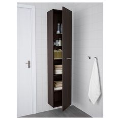 IKEA - HEMNES, High cabinet with mirror door, black-brown stain, , You can move the shelves and adjust the spacing according to your personal… Mirror Cabinets, Bathroom Cabinets, Ikea Bathroom, Bathroom Storage, Ikea Lillangen, Tall Cabinet Storage, Locker Storage, Armoire Ikea, Ikea Us