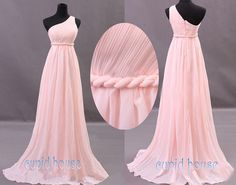 New Arrival A-line One-shouder Sleeveless Chiffon Long Mint Coral Grey Blush Pink Purple Navy Blue Bridesmaid Dress Wedding Party Dress 2014...