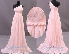 New Arrival A-line One-shouder Sleeveless Chiffon Long Mint Coral Grey Blush Pink Purple Navy Blue Bridesmaid Dress Wedding Party Dress 2014...
