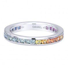 Multi Color Stones Stackable Ladie's Ring In 14K White Gold LR4863W4JMC