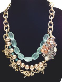 Mint+pave+Necklace+NecklaceStatement+Necklace+by+CoraLaneJewelry,+$78.00