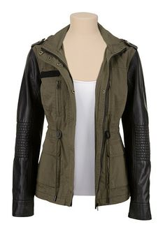 Hooded Faux leather sleeve anorak. Oh my gosh I love this!