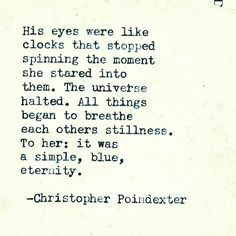 His eyes - Christopher Poindexter