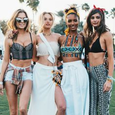 I love the outfit on the far left - Coachella 2016 Victoria's Secret
