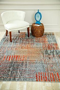 Orange Contemporary Clearance Large Area Rugs For Rooms Bargain